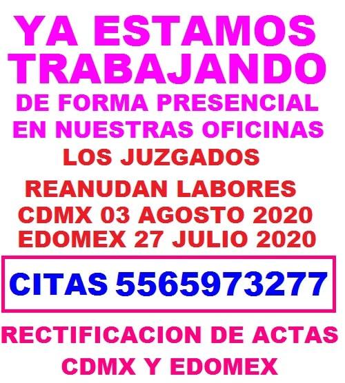 regreso actividades presenciales rectificacion de actas del registro civil